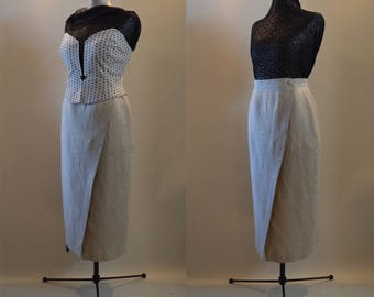 Long Linen Maxi Wrap Skirt with Two Buttons in Light Beige UK Size 12 US Size 8