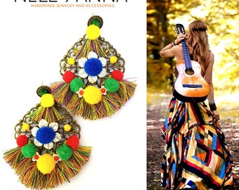 Bright colored ethnic embellished pompom fringe earrings, colorful boho chic earrings with tassels