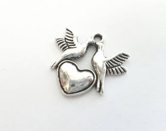 Four Heart with Dove Charms - bird - love - peace - Tibetan Silver