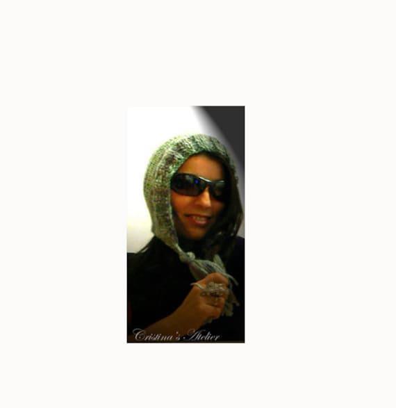Alpaca hood winter knitted hat. Green handmade wool trapper hat. Women winter knit hat .Hood hat. Pixie green knit hat.Tassels women hat.