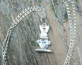 Vintage sterling silver and cubic zirconia rabbit pendant and chain