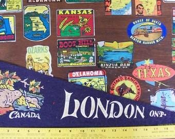 Vintage 1940s London Ontario Canada Souvenir Felt Pennant