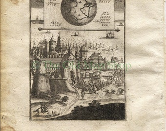 "1719 Manesson Mallet World Map ""Globe Terrestre"", Antique Print, published by Johann Adam Jung"