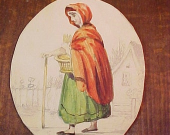 Antique c 1830  Miniature English Watercolor, Sketch, Woman in Red Cloak
