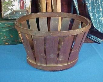 Antique Shaker Miniature Fruit, Strawberry, Basket, Original Dark Brown Paint