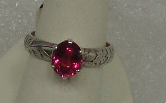 Pink Tourmaline and Sterling Ring