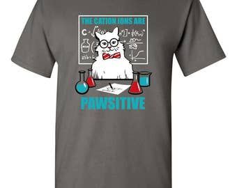 Chemistry Cat The Cation Ions are Pawsitive Funny Mens T-shirt Charcoal