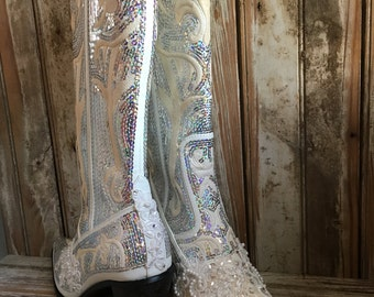 bling boot bridal boot cowgirl country wedding beaded prom boot lace sequin boot wedding boot mother
