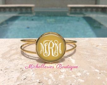 Gold Personalized Monogram Bangle Cuff Adjustable Bracelet, Gold Plated, Bridesmaid Gifts, Gifts for Her,Accessories,Jewelry