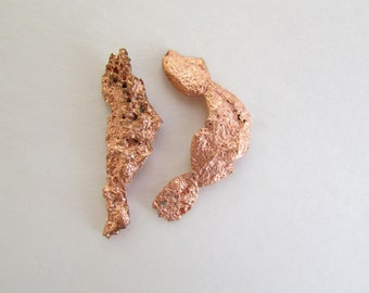 2 Native Copper Nuggets, Raw Flat Natural Copper from Michigan, Copper Nugget Loose - Copper Specimen