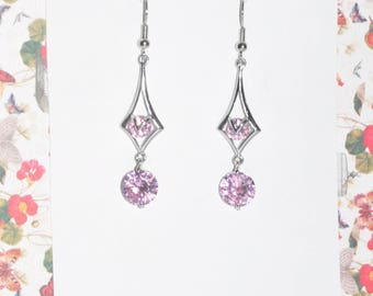 Earrings Silver Pink Crystal #H09a