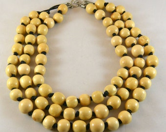 Bold Wood Statement Necklace