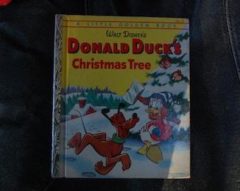 Donald Duck's Christmas Tree Walt Disney A Little Golden Book #D39 1954 A Edition - Donald Duck Little Golden Book - Vintage Walt Disney