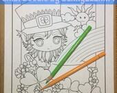 Chibi Doodle Leprechaun boy Shamrock Anime Manga Coloring Page for Adult Coloring PDF download by JennyLuanArt