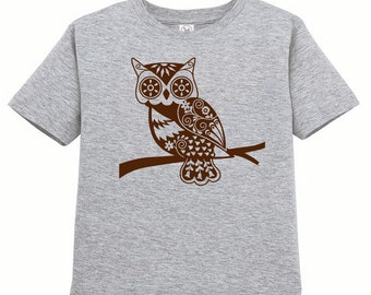 Kids Clothing, Kids Shirt, Toddler, Whimsical Owl Tshirt, Forest Animal T Shirt Woodland Critter Tee Youth Childrens Clothes Ringspun Cotton