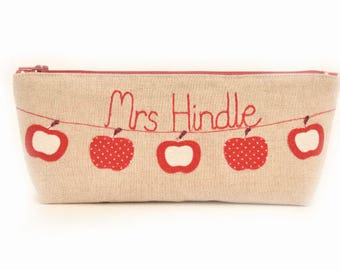 Personalised Pencil Case // Thank You Teacher // Red Apple Design // Teacher Gift