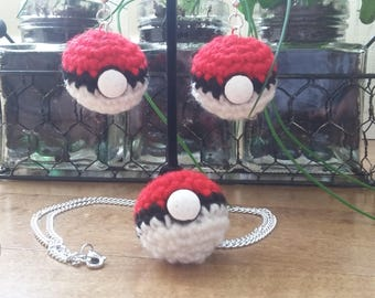 Crochet Pokeball Earrings and / or Necklace