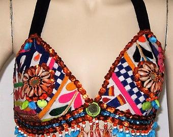 SALE Gypsy Caravan top bra,Gypsy dance,Gypsy tassel top,Gypsy,Tribal fusion gypsy top,Boho,Tribal belly dance,Gypsy fusion,Tribal gypsy