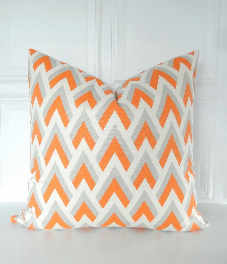 orange pillow cover orange grey pillow orange throw pillow. Black Bedroom Furniture Sets. Home Design Ideas
