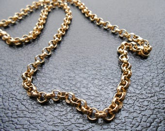 80s, 90s vintage necklace - gold rolo chain necklace - 80s/90s Open Door necklace