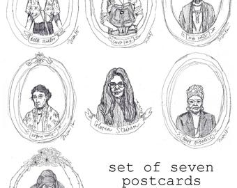 Set of 7 Postcards of Women