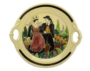 1940s HB Quimper Pottery Platter with Breton Man & Woman. Old French Faience Plate.