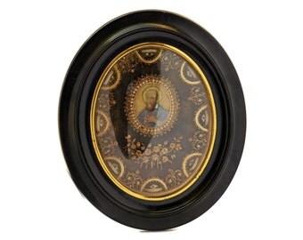 Antique Paperolle Reliquary with Saints Relics and Miniature Portrait of Saint Peter.