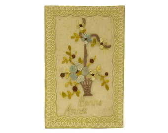 French Antique Embroidered Postcard with Flower Basket and Bonne Annee Greeting.