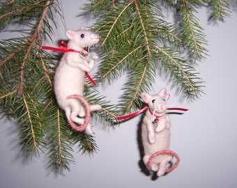 Needle Felted Wool 'Christmas Mice' Pair Ornaments