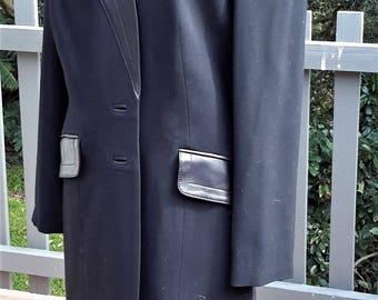 Alberto Makali Ladies Black 100% Wool Jacket with Genuine Leather Features, Vintage, Unworn, As New, Size 12