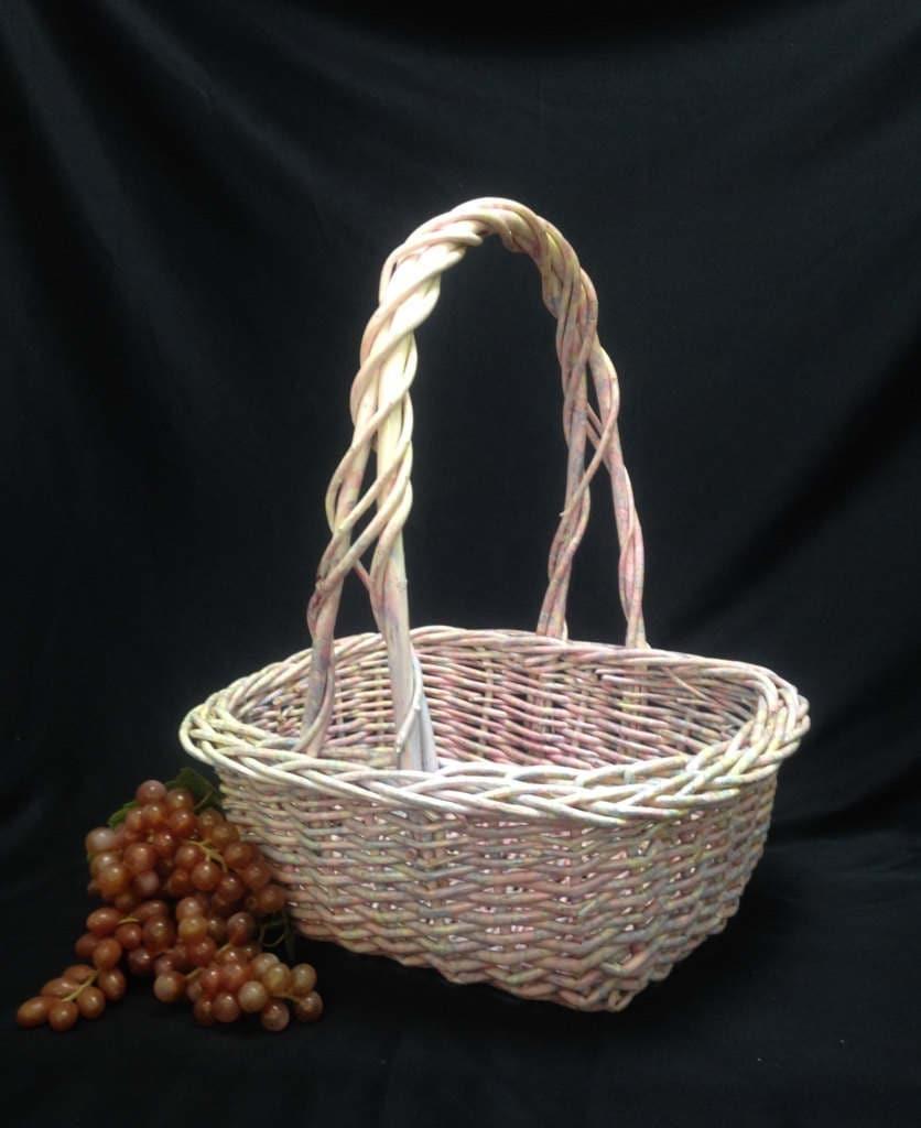 large wicker basket easter basket pastel pink flower girl. Black Bedroom Furniture Sets. Home Design Ideas