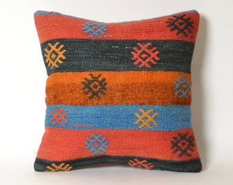 vintage kilim pillow, boho throw pillow, anatolian pillow, handmade, boho cushions, outdoor pillow, gypsy pillow cover, handwoven pillow