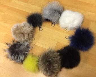 Real fox fur pom pom keychains