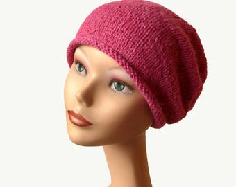 Women's Beanie Hat / Slouch Beanie / Womens Knit Hat / Women's Pink Beanie / Pink Knit Hat / Luxury Natural Fiber / Slouchy Beanie Hat