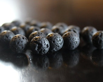 8 mm natural lava beads, round, 25 beads, black, 1 mm hole, great for essential oils