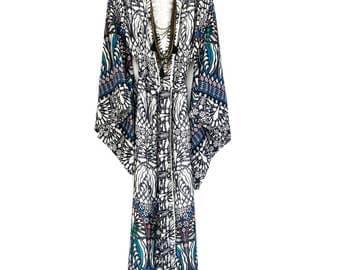 kimono robe, silk kimono, silk kimono robe, full length robe, silk jacket, boho kimono, beach kimono, full length kimono, gift for her