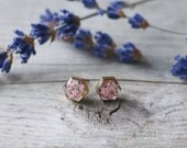 Raw Brass Hexagon Charm Surgical Stainless Stud Earrings Filled with Resin, Light Pink Queen Anne's Lace Flowers