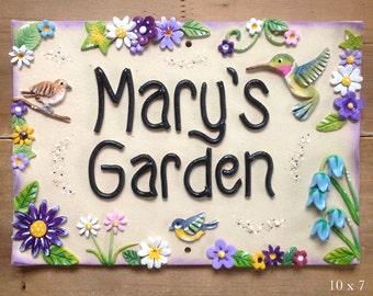 Personalised Garden Sign - Ceramic, Hummingbird Design