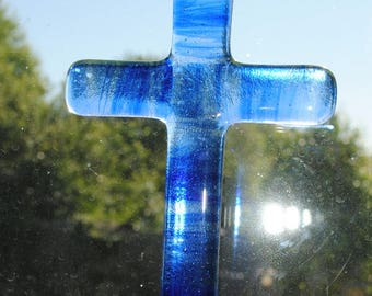 Blue Striped Fused Glass Cross