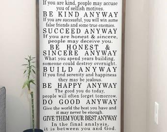 Mother Teresa, 2x4 farmhouse framed sign, do it  anyway, forgive them anyway, farmhouse sign, farmhouse frame