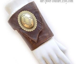 Leather | Suede | Womens Wallet | Wrist | Cuff | Wallet | Wrist Wallet | Brown | Concho