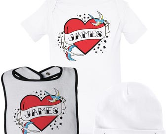 Personalized Tattoo Baby Gift Set, Tattoo Baby Clothes, Tattoo Baby Shirt