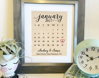 NEW Wedding Calendar Cotton Print | Personalized Cotton 2nd Anniversary Gift | Gifts for Her | Engagement Announcement | Frame not included