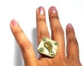 AVENTURINE Orgone Ring – Triskele Triskelion - Energy Balancing and EMF Protection - Spiritual Gift - Small Square