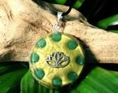 Aventurine Orgone Pendant -  Lotus - Heart Chakra - Handmade Healing Jewellery and Spiritual Gift - Large
