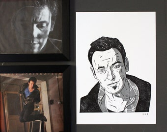 Bruce Springsteen 'The Boss' Portrait - Original Relief Print - Black ink on A4