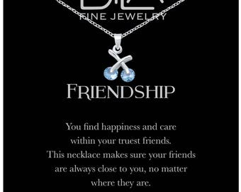 DTLA Friendship Necklace in Sterling Silver with Inspirational Quote Card - Aquamarine CZ