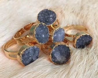 Angel Aura Druzy Amethyst Cluster Ring Druzy Amethyst Ring Raw Druzy Quartz Jewelry Statement Raw Quartz Angel Aura Druzy Pendant Amethyst
