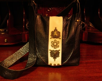 Steampunk Victorian Hand Bag  Black and Cream Leather Messenger Shoulder Bag -- Victorian Duchess
