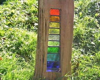Solis Lead Glass Wood Sculpture